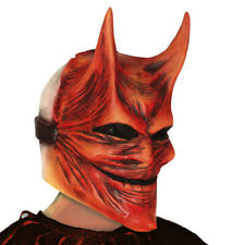 Scary Halloween Devil Mask & Horns Latex Overhead Fancy Dress Beast Masque NEW