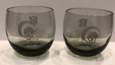 Lot of 2 La Rams Nfl Vintage Smoke Etched Drinking Glasses Tumblers