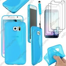 Coque Silicone S-line Bleu Samsung Galaxy S6 G920F Mini Stylet 3 Films