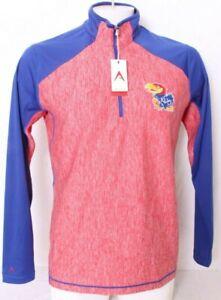 NEW Kansas University KU Jayhawks Antigua Blue 1/4 Zip Jacket shirt Men's L