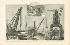 Tafel KRAN / DAMPFKRAN / PORTALKRAN 1894 Original-Holzstich