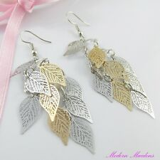 Two Tone Filigree Stamped Leaf Hook Earrings 80mm