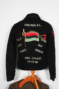 COLLECTOR'S VINTAGE 1978-1980 BLACK WOOL EMBROIDERED SOUVENIR JACKET SIZE SMALL