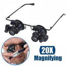 20X Binocular Magnifying Eye Magnifier Glasses Loupe Lens Watch Repair LED Light