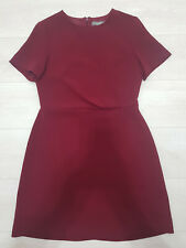 Mini Vestido señoras Oasis Fit & llamarada Talla 12 Manga Corta Forrado Borgoña púrpura
