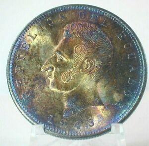 1943 Ecuador 5 Sucres Silver Crown Uncirculated Condition Toning KM#79    (410)