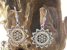MANDALA EARRINGS BLESSED YOGA MEDITATION BUDDHISM HINDUISM INDIA TIBET