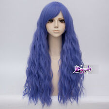70cm Purple Blue Long Curly Hair Lolita Women Anime Party Cosplay Wig + Cap