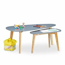 Relaxdays 10020971 111 tavolini sovrapponibili Stile Nordico Bambú (n7m)