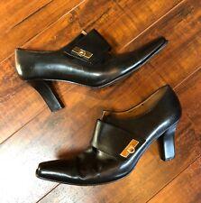 VTG BLACK sz 8.5M LEATHER Salvatore Ferragamo Mod Ankle Booties Boots Pump Shoes