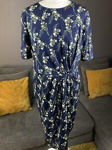 Hobbs Silk Blend Navy Floral Womens Dress Fully Lined Size Uk 16 Vgc #BG