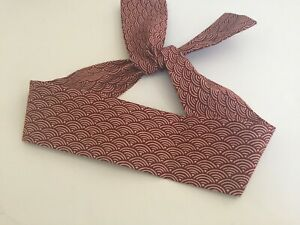 "Japanese  Hachimaki Headband 37""L ""SEIGAIHA Pattern Sevenberry Cotton Fabric"