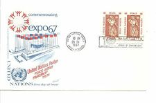 Un Scott #170 - Pair 4 cent Peace stamps for Expo 67 - Fdc
