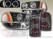 2000-2006 GMC YUKON DENALI HALO HEADLIGHTS LED BLACK + BUMPER+ SMOKE TAIL LIGHTS