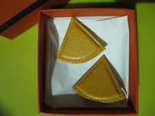 Authentic Hermès Soleil YELLOW Leather Triangle Clip-On Earrings With Its Box