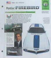 PONTIAC FIREBIRD History Brochure:TRANS AM,400,HO,1969,TURBO,SD-455,1978,Ram Air