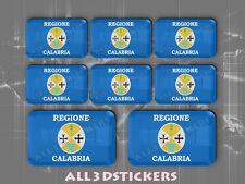8 x Pegatinas 3D Relieve Bandera Calabria - Todas las Banderas del MUNDO