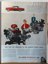 1955 magazine ad for Plymouth - Two Top Engines in Lowest Price Field, photo ad