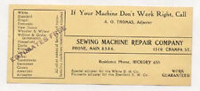 OLD DENVER CO COLO TRADE CARD FOR SEWING MACHINE REPAIR AT 1510 CHAMPA TC1819