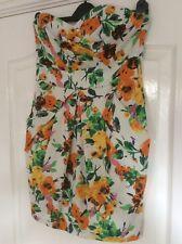 River Island Strapless Dress Cream/Orange/Green/Blue Print Size 10