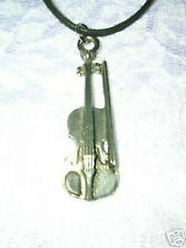 """VIOLIN & BOW MUSIC PEWTER PENDANT 18"""" SUEDE NECKLACE"""