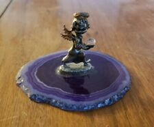 Pewter Angel Figurine Holding Crystal Ball On A Polished Purple Agate Stone Base