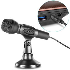 Mini Studio Microphone 3.5mm Stereo Plug With Stand For PC Computer Laptop