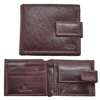 Luxury Genuine Grained Leather Mens Flip Out Wallet Purse Coin Holder Brown