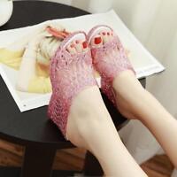 Glitter Womens Summer Jelly Peep Toe Net Mesh Wedge Heel Casual Sandal Slippers@