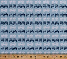 Jeeps Car Vehicles Transportation Camping Blue Cotton Fabric Print BTY D514.06