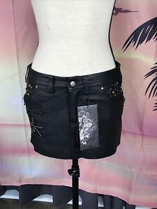 ED HARDY tattoo glory women Pleather mini skirt with crystals NWT Sz S_718
