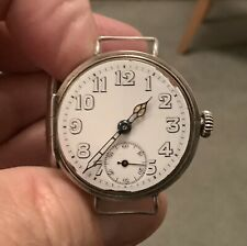 WW1 Solid Silver Trench Soldiers Watch - Inverted Omega Mark Date Letter a