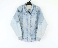 Vintage 90s Streetwear Mens Small Distressed Acid Wash Denim Jean Jacket Blue