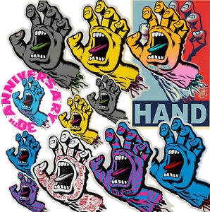SANTA CRUZ Screaming Hand Sticker / Skateboard Snowboard Surf - Assorted Styles