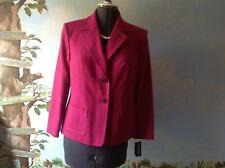 Kasper Petite Pink Fuchsia Long Sleeve Suit Jacket Wool Blazer Size 12P New