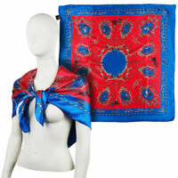 FOULARD donna sciarpa di PURA SETA stile vintage fazzoletto da collo fular cm 90