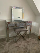 Whole Mirrored Entryway Console Glass Desk 1/2 Drawers Bedroom Dressing Mak