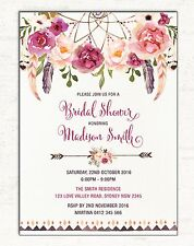 Boho BRIDAL SHOWER Invitation Floral Invite Dreamcatcher Hens Night High Tea