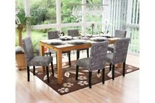 6x Stuhl Stuhlset grau Esszimmerstuhl  Textil Stoff Stühle Schrift Polsterstuhl
