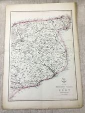 Antique Map Kent County Watering Places  19th Century Old Hand Coloured