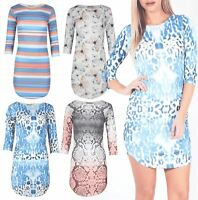 Womens 3/4 Sleeve Curved Hem Bodycon Fitted Pencil Floral Stretchy Mini Dress