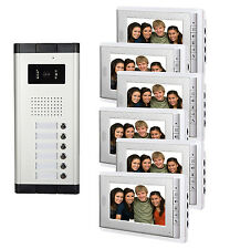 7 Inch Video Doorbell Video Door Phone Intercom System for 6 Units Apartment
