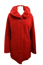 BARBARA LEBEK Designer Women's Coat Red Wool & Cashmere Lined Pockets Size 18