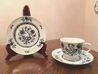 CHRISTINA Seltmann Weiden W.Germany DRESDEN CLASSICS BLUE Cup/Saucer/Bread Plate