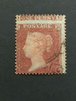 GB QV 1854 1d RED-BROWN, SMALL CROWN PF16, GROSSLY MISSPERFED. VFU, EXCELLENT