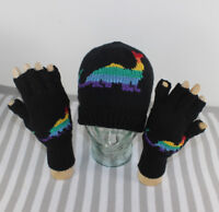 PRINTED INSTRUCTIONS -RAINBOW DINOSAUR BEANIE HAT & GLOVES KNITTING PATTERN