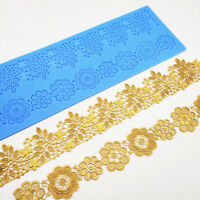 Edible Wedding Floral Flower Lace Cake Silicone Embossing Mat Fondant Impression