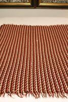 "Handmade Crochet Brown Pink White Afghan Throw Blanket 45"" x 55"""