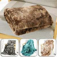 Large Faux Fur Fluffy Blanket Tie Dye Soft Fleece Bed Sofa Throw Cover Shaggy