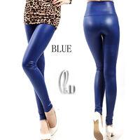 AU STOCK High Rise Leather Look Pants Dance Disco Leggings Multiple Colour  P121